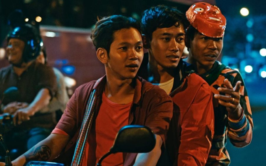 Chhun Piseth, left, in a still from the White Building movie which was screened at the Venice film festival last week. (Supplied)