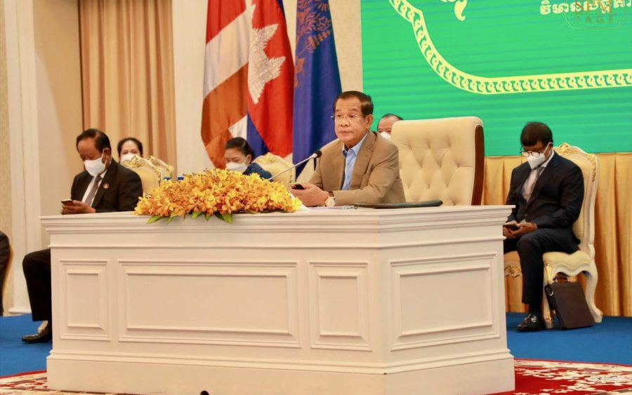 Hun Sen speaks at an event to launch a vaccination drive for children aged 6 to 11, in a photo posted to his Facebook page on Friday.