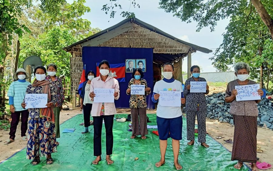 Lor Peang community members petition authorities in August to give a nearby lake protected status, in a photo posted to their Facebook page.