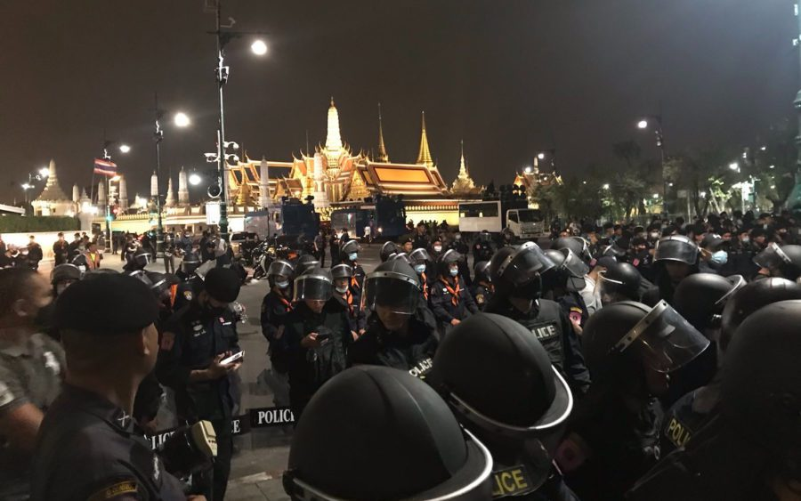Riot police form a line preventing protesters from getting closer to Thailand's Royal Palace during a pro-democracy protest in Bangkok on November 8, 2020. (Jintamas Saksornchai/VOD)