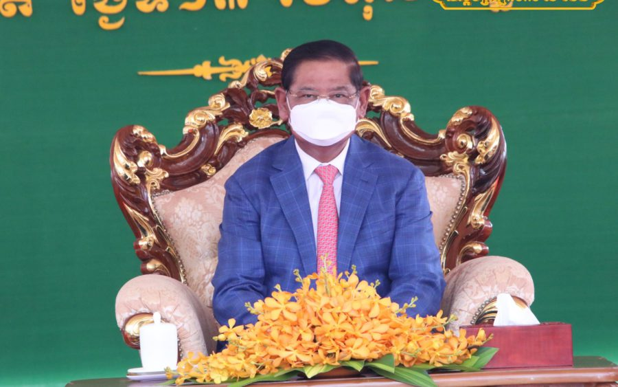 Interior Minister Sar Kheng presides over a ceremony in Kampot province, in a photo posted to his Facebook page on October 13, 2021.