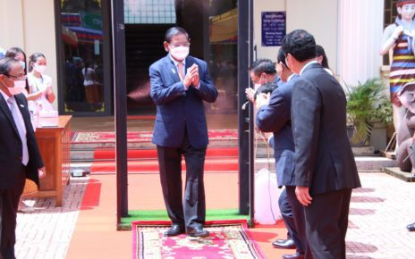 Interior Minister Sar Kheng is greeted in Ratanakiri province, in a photo posted to his Facebook page on October 12.