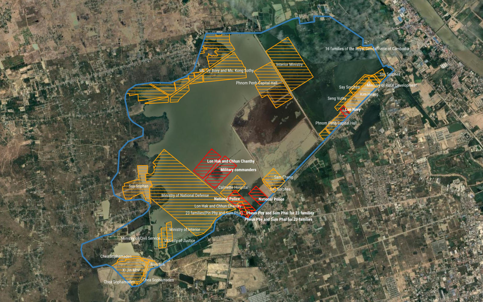 Allocation of land at Phnom Penh's Boeng Tamok, including new plots given to senior military officials. (Michael Dickison/VOD)