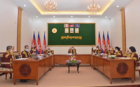 The Constitutional Council met on Monday to review amendments that would prohibit Cambodians with dual citizenship from holding high office, in a photo posted to the council's Facebook page.